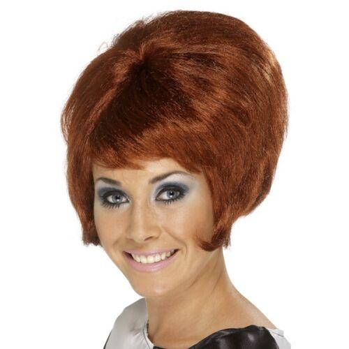 Women/'s 60/'s Auburn Beehive Wig Hen Short Mod Pin Up Model Glamour Rock Hippy