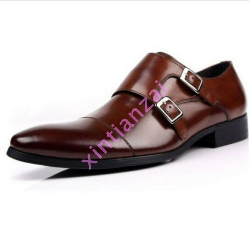 2018 Winter Uomo Shoes Loafers Real Leather Strap Buckle Business Oxfords Shoes