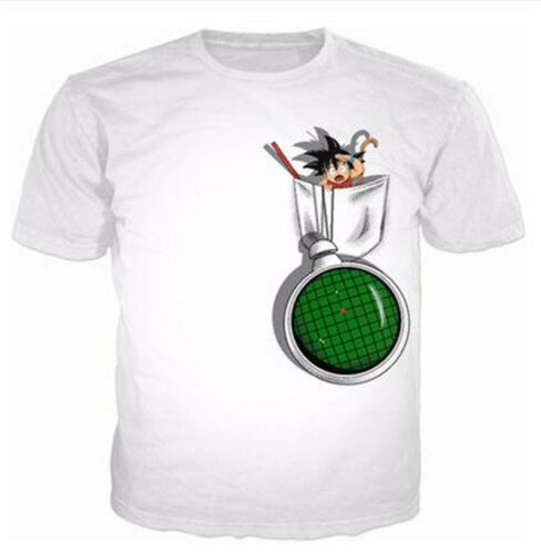 Women Men Funny Goku kids in Pocket Print Casual 3D T-Shirt Tee Short Sleeve
