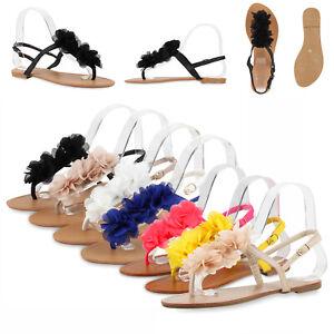 huge discount 91092 9bfc9 Details zu Damen Dianetten Blumen Sandalen Zehentrenner Sommer 810035 Schuhe