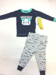 Navy Woof Dog Cotton Pajamas for Toddler Boys