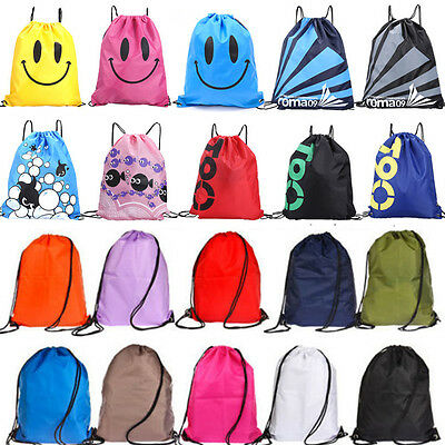 Men Women String Drawstring Backpack Cinch Sack Gym Tote Bag School Sport Pack