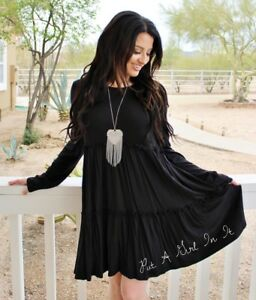 Details about PLUS SIZE SOLID BLACK RUFFLE BOHO BABYDOLL USA TIERED MINI  DRESS XL 1X 2X 3X
