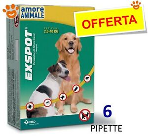 Exspot 6 pipette 1 ml per Cani da 2,5 kg a 40 kg - Antiparassitario per cane