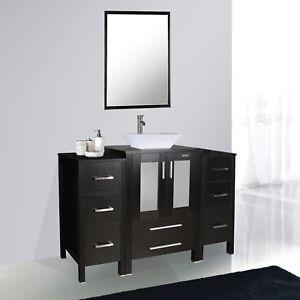 48 inch Black Bathroom Vanity mirror White Ceramic Sink ...