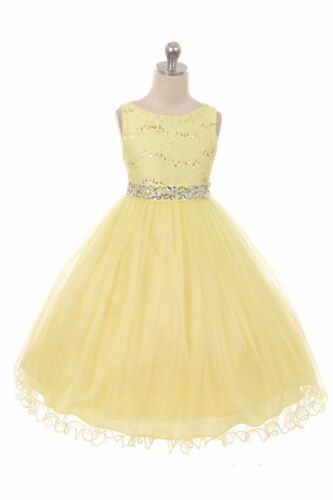 New Yellow Flower Girls Dress Pageant Wedding Easter Christmas Party Baby Fancy