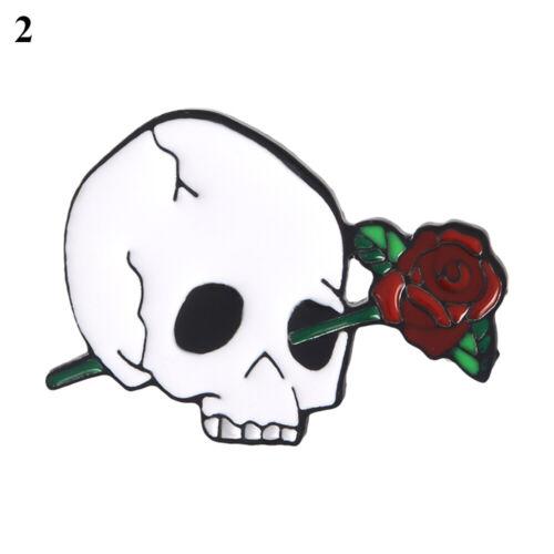 aus Punk Rose Skull Gothic Lapel Pin Brosche Pins für Emaille Halloween