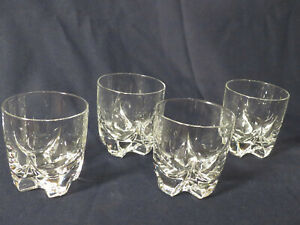 Set-4-Rocks-Glasses-W-Cross-Bottoms-Whiskey-Double-Old-Fashioned-3-in-tall