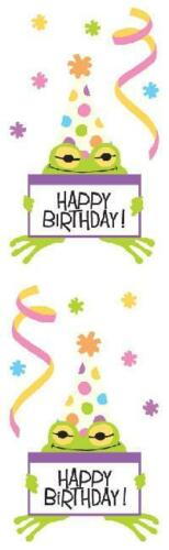 """Birthday Party Frog Stickers Mrs Grossman/'s 3 sheets per pack 2/"""" x 6.5/"""" 08033"""