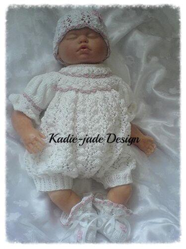 Knitting Pattern #59 Romper Set for 0-3m Baby//Reborn 22in