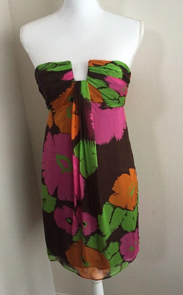 Milly Of New York Dress Größe 4 Floral braun Fuchsia Grün Orange Rosa  NWOT