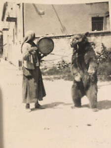 PHOTO Originale  DRESSEUR D'OUR 1950 MONTREUR D'OURS