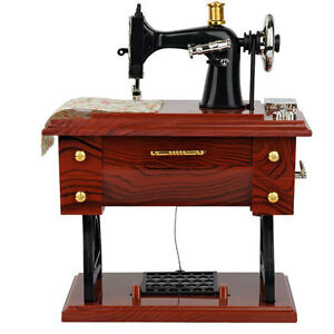 New mini treadle sewing machine music box mechanical model for Decor 99 sewing machine