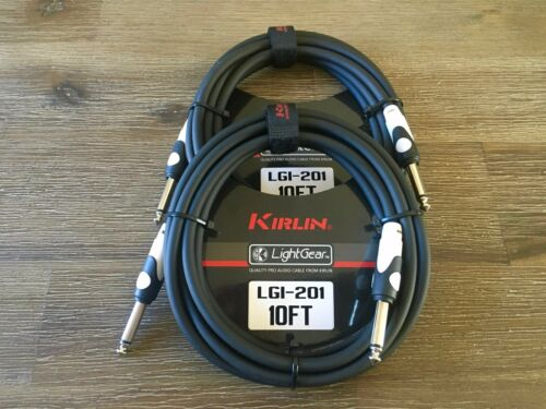 "2-Pack Kirlin 10 ft Guitar Instrument Patch Cable 1//4/"" PLUS Free Cable Ties"