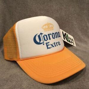 Corona Extra Beer Trucker Hat Old Logo Vintage Style Snapback Party Cap Yellow