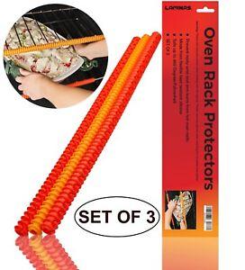 Resistant-a-la-chaleur-plus-surs-Four-Rack-Protecteurs-Universel-Silicone-14-034-Pack-de-3-NEUF