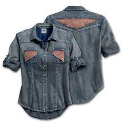 Harley-Davidson Lightweight Denim Roll Tab Winged Shirt 96311-16VW