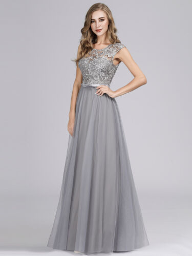 US Ever-Pretty Long Sleeveless Lace O Neck Formal Party Evening Prom Dress Gowns