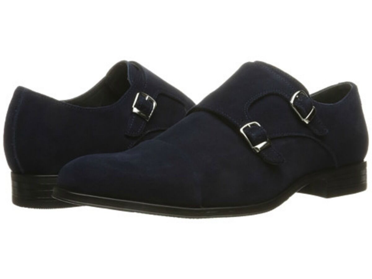Stacy Adams Uomo Slocomb Double Monk Strap Dress Shoes Navy Suede 25103-415