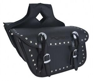 Borsa-Bisacce-Moto-Customo-Chopper-Borchie-Cromate-Nero-Saddle-Bags