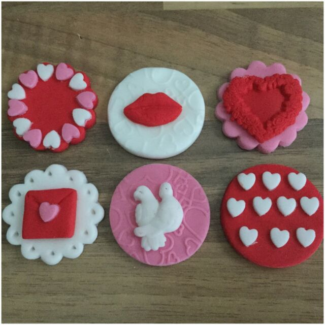 6 Valentines Day Edible Sugar Cup Cake Decorations Toppers hearts Doves Letters