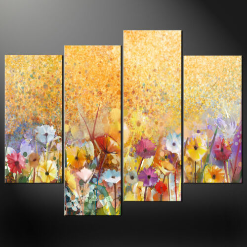 COLOURFUL FLOWERS YELLOW GARDEN CANVAS PRINT PICTURE WALL ART VARIETY OF SIZES