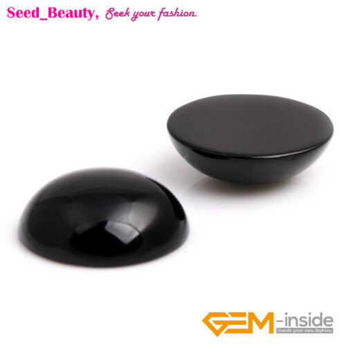 Coin Oval Black Agate CAB Cabochon Beads for Ring Pendant Jewelry Making 5pcs