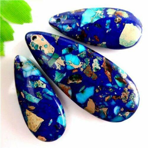 New!3pcs Charming Blue Sea Sediment Jasper /& Lapis Lazuli Pendant Bead SetL3JT11