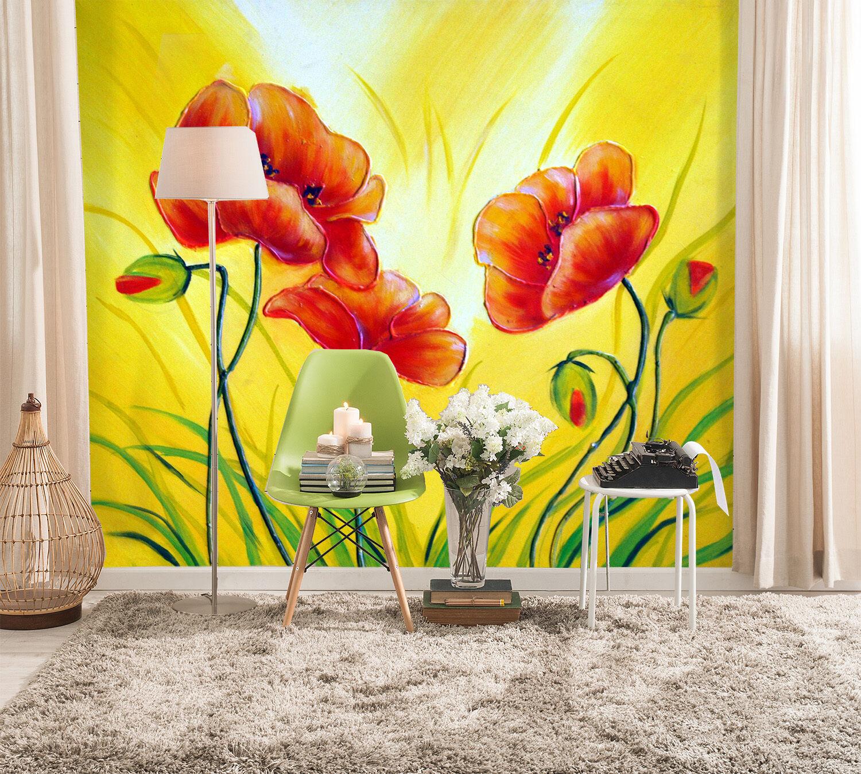 3D Blume Ölgemälde Fototapeten Wandbild Fototapete Bild Tapete Familie Kinder