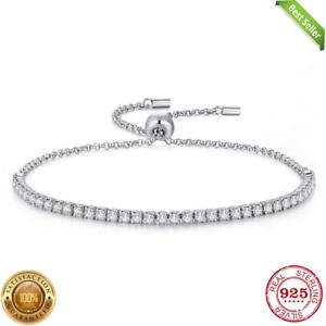 925 Silver Plated Heart Bracelet Bangle /& Zircon Women Fashion jewelry UK Seller