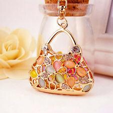 Flower Handbag Shaped Crystal Diamante Rhinestone Bag Charms Handbag Keyrings