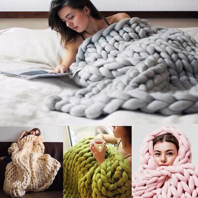Handmade Chunky Knit Blanket Throw Wool Thick Line Yarn Home Decor Warm Carpet