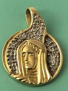 C.I. 10k gold diamond rosary Holy Mary rosary medal pendant JL 052320bC@