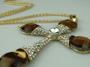 Religious-Silver-Plated-Diamonte-Metal-Cross-Necklace-With-Gold-chain