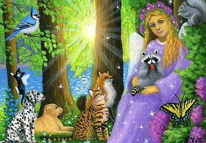 Angel-fairy-forest-wildlife-dog-cat-fox-bird-raccoon-LE-aceo-print-art