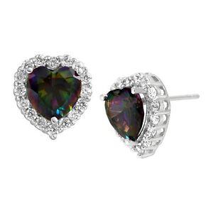 Natural-Green-Mystic-Topaz-amp-White-Topaz-Heart-Stud-Earrings-in-Sterling-Silver