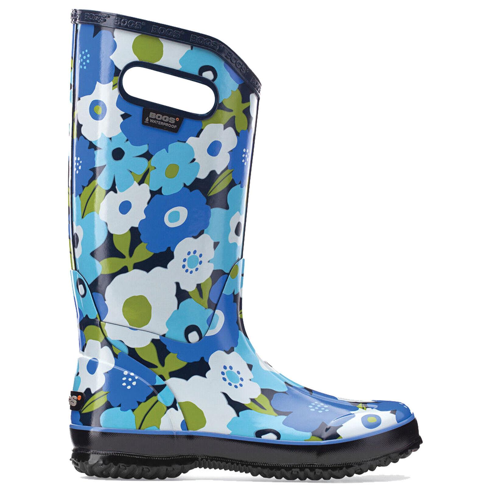 LADIES BOGS SPRING FLOWERS Blau MULTI WELLIES FESTIVAL RAINStiefel GrößeS 4–9  71897