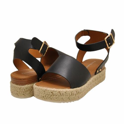Women/'s Shoes Pierre Dumas MAGIC-4 Platform Wedge Espadrille Sandals BLACK