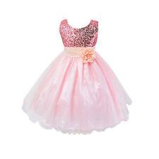 1ddf7c35c Girls Sequinned Dress Flower Princess Sleeveless Formal Party ...