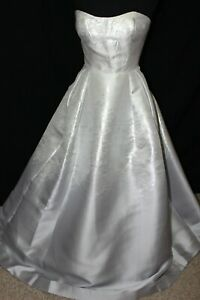 NWT Madison James 20-334 Silver Mikado Size 14 long formal ball gown PROM dress