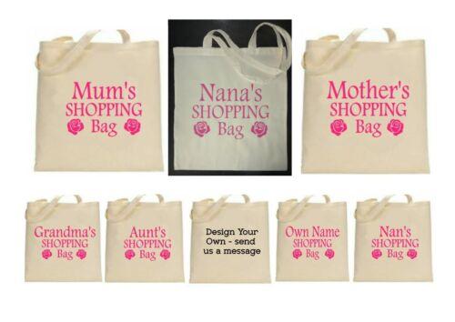 Foldable Reusable Bag Personalised Tote//Shopping//Cotton//Canvas Bag Mum,Nan,Nana
