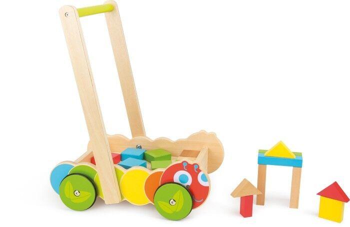 Lauflernwagen Raupe Bauklötze Spielwagen Laufwagen aus Holz für Kinder Kinder Kinder Babys Neu 6156fc