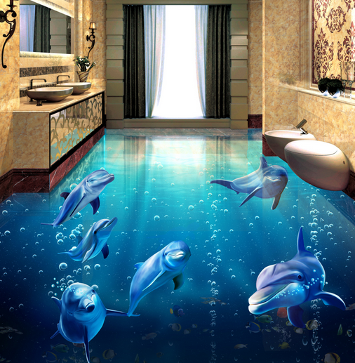3D Blau Bubble Dolphin 454 Floor WallPaper Murals Wall Print Decal AJ WALLPAPER