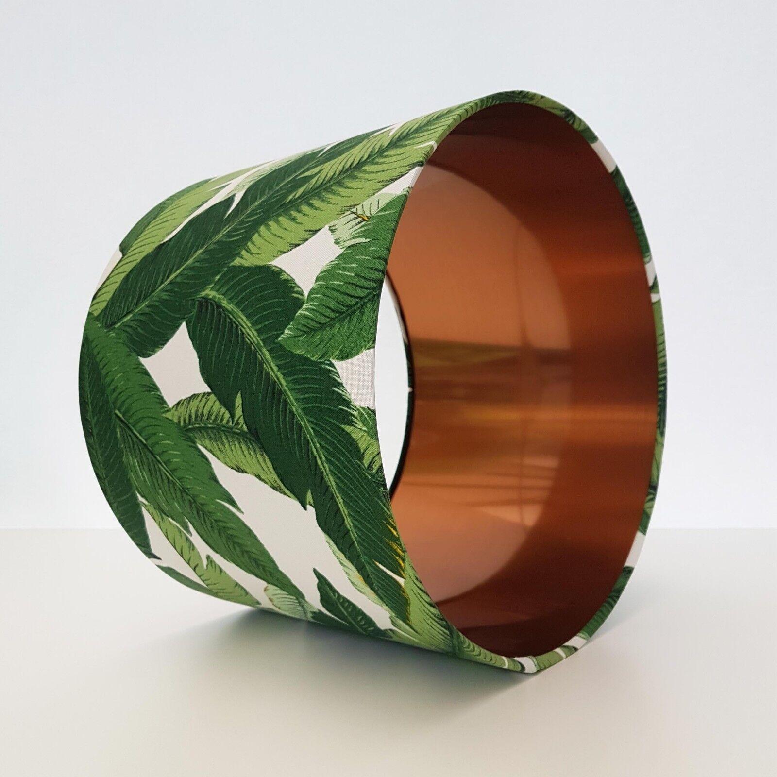 Lampshade Leaves Copper Lining Metallic Retro Botanical Palm Garden Grün