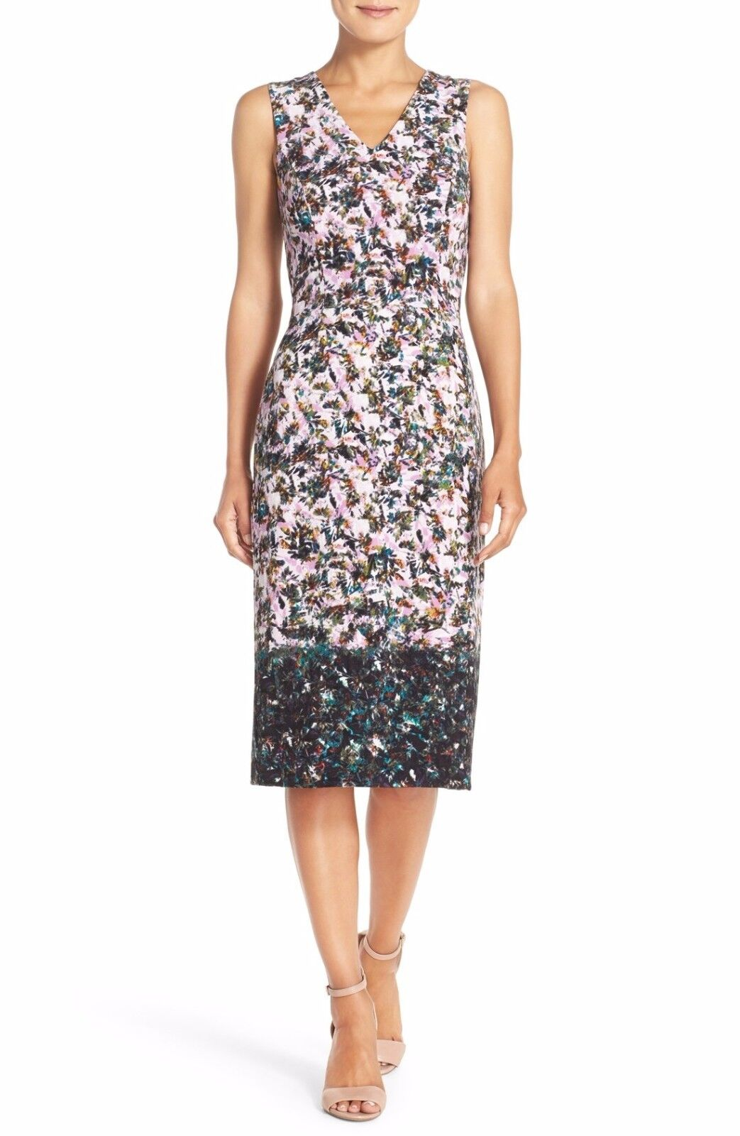 MAGGY LONDON PRINT STRETCH CREPE MIDI SHEATH DRESS sz 6