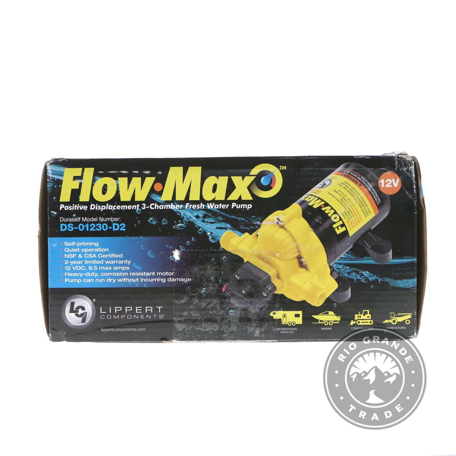 OPEN BOX Lippert Components 689052 12V Flow Max Water Pump in White / Black