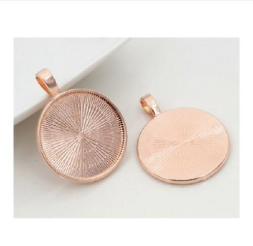 6 x Rose gold blank round cabochon pendant settings fits 20mm