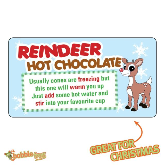 48 X Christmas Reindeer Poem Hot Chocolate Sticker Business Xmas Label Fun Ch36