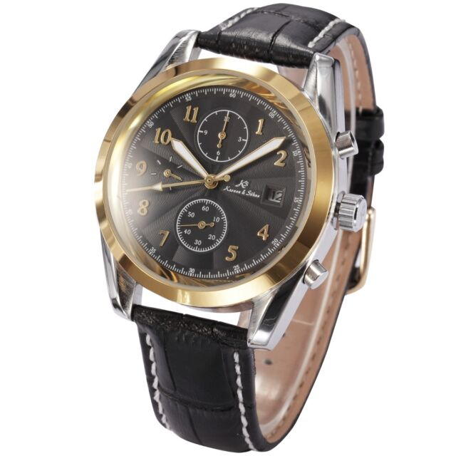 KS Imperial Gold Black Date Day Month Leather Automatic Mechanical Men Watch