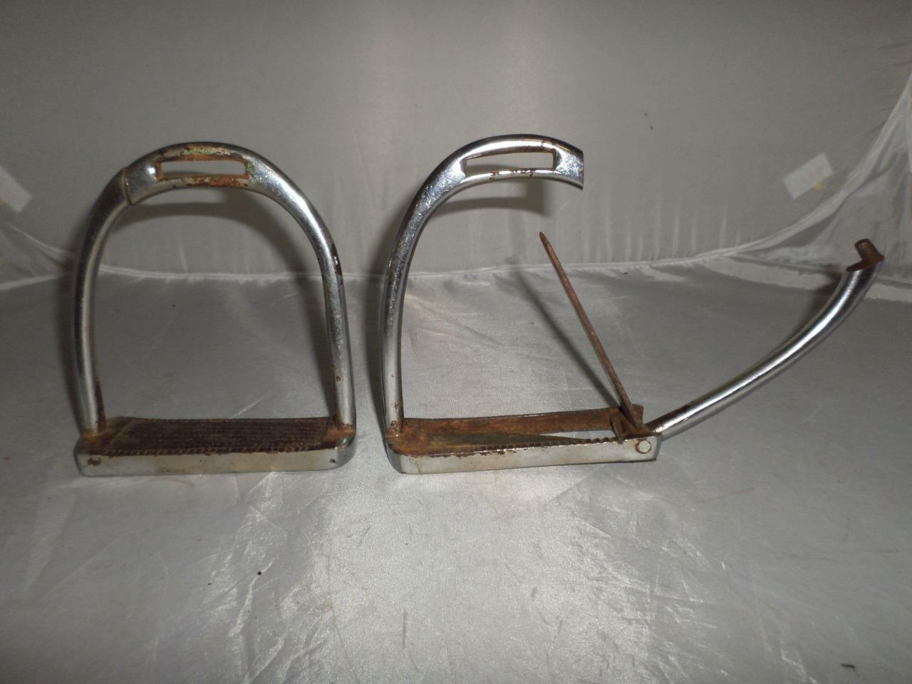 ANTIQUE SAFETY IRONS -FOOT RELEASE MECHANISM- POSSIBLY MILITARY  OR SIMILAR  cheapest